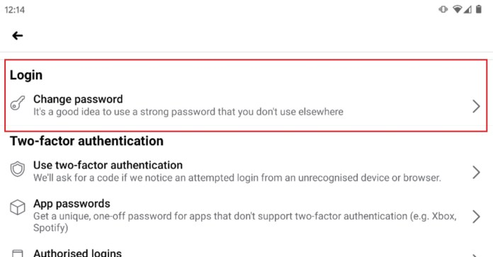 How to change password on Facebook app: Tap Login