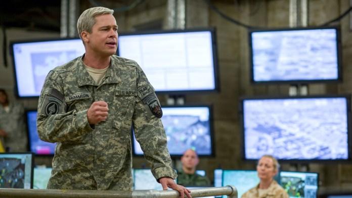 Brad Pitt as General Glen McMahon in War Machine, one of the best Netflix war movies