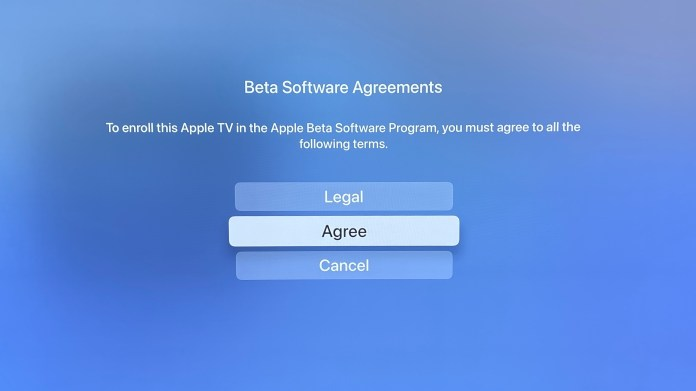 How to Download the tvOS 15 Public Beta Step 6: Select Agree