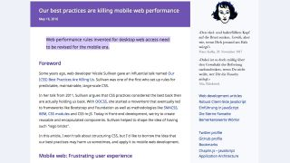 Screenshot of article reading 'Web performance rules invented for desktop web access need to be revised for the mobile era.'