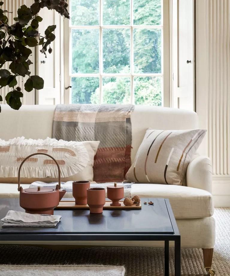 Living room with cream sofa