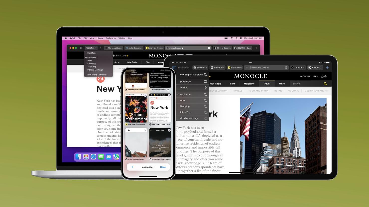 Safari in macos Montrey iOS 15