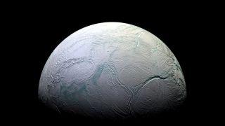 An image of Saturn's moon Enceladus, taken by NASA's Cassini spacecraft.