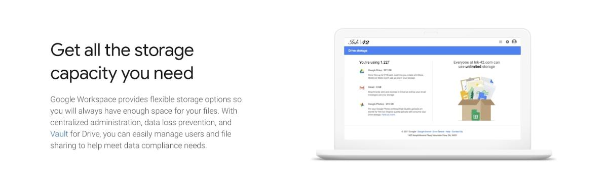Google Drive's webpage discussing storage capacity