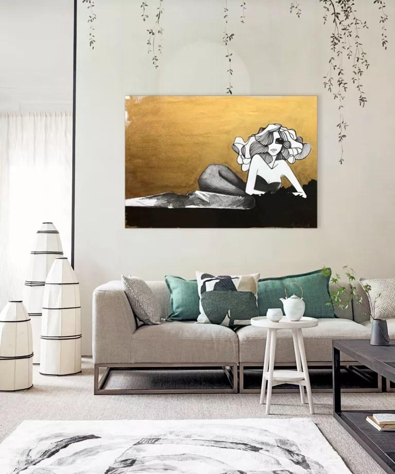 Minimalist living room with Japandi style