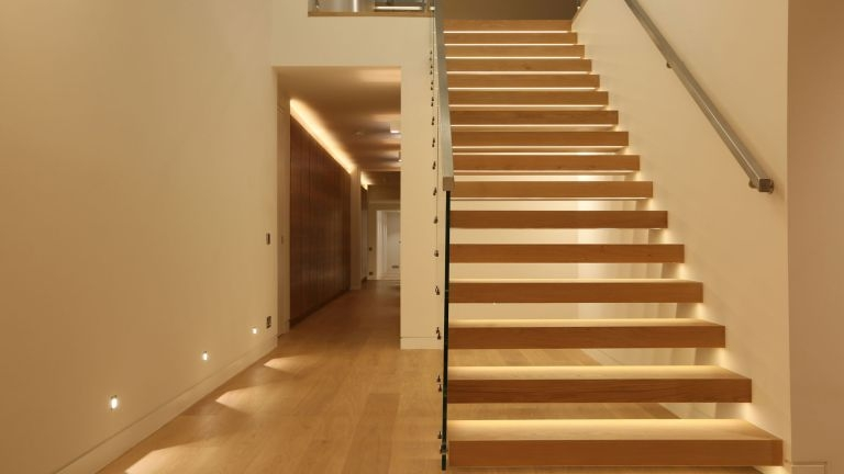 Staircase Lighting Design Ideas Real Homes   Half Wall Staircase Design   Minimalist   Stair Railing   Frames Up   Architecture Contemporary   Stairway