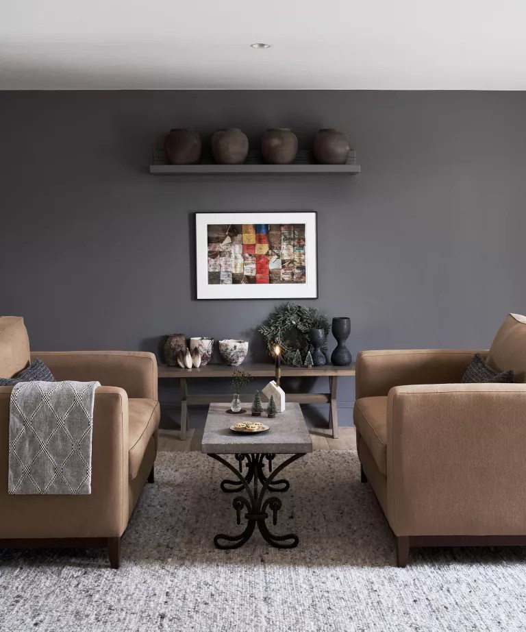 Dark living room ideas with symmetrical seating