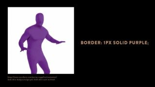 Picture shows a purple model of a man, and the text 'Border: 1px solid purple'