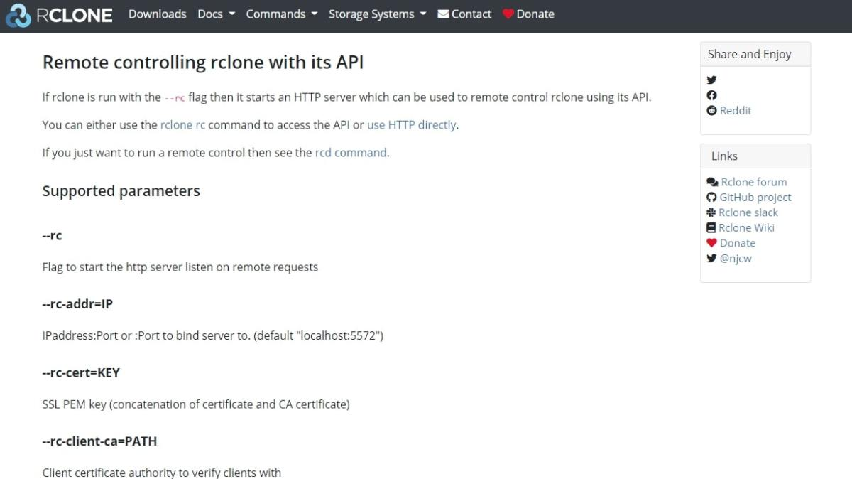 Rclone's webpage discussing remote controlling the service