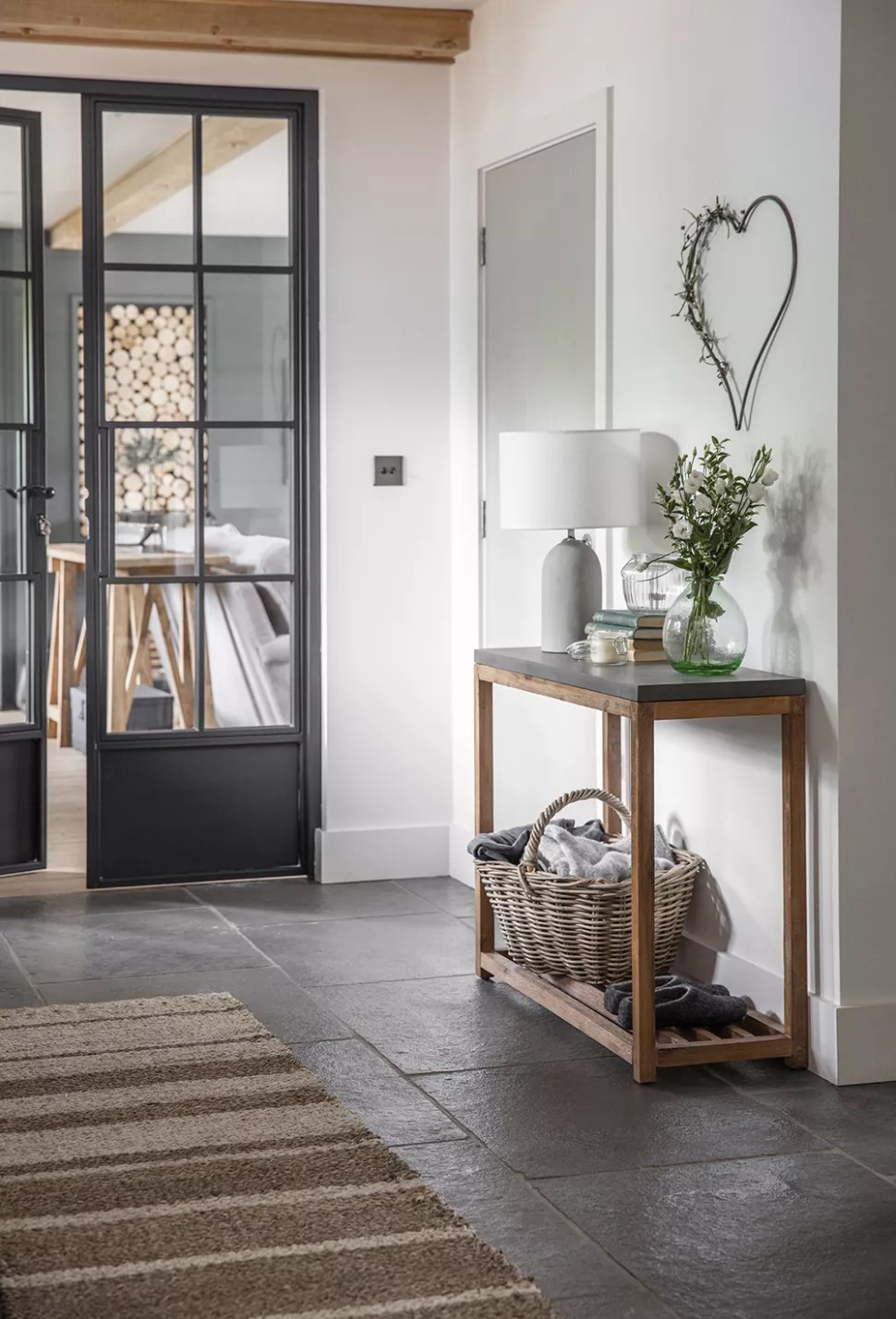 small hallway ideas with a door leading off into another room