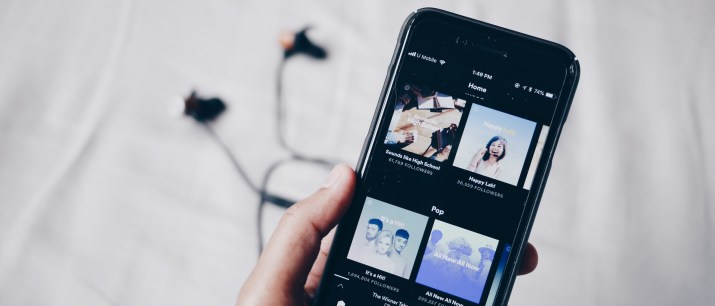 An image of the spotify app on an iphone