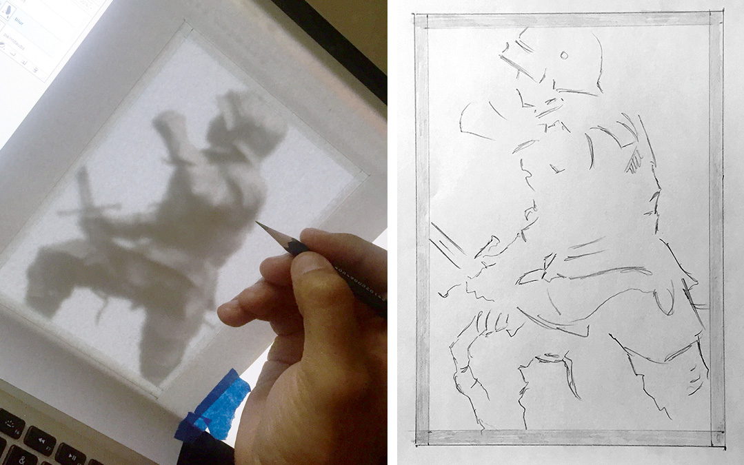 A piece of paper taped to the computer screen, and a person holding a pencil. A second image shows the finished trace of the knight's main outline