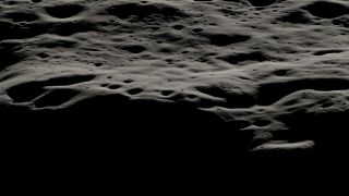 A data visualization showing the mountainous area west of Nobile Crater and the smaller craters that litter its rim at the moon's south pole. The Nobile region — the landing site for NASA's ice-hunting VIPER rover — features areas permanently covered in shadow as well as areas that are bathed in sunlight most of the time.
