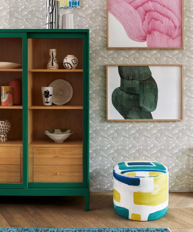 Living room with colorful cabinet