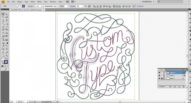Use the Calligraphic Brush tool to create decorative type