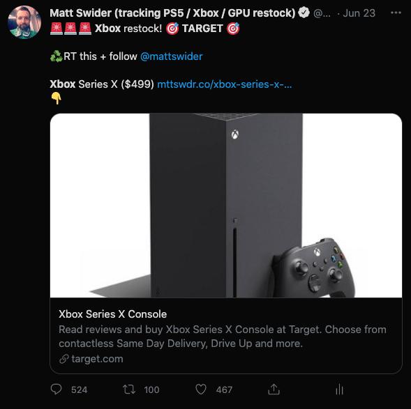 Target Xbox Series X restock Twitter alert