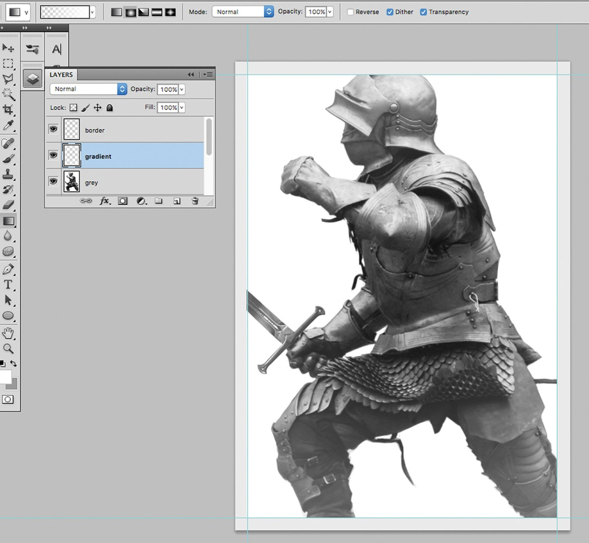 Knight image in Photoshop, in greyscale, with a highlight on the arm, shoulder and head