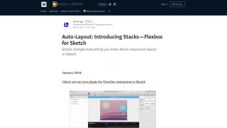 Medium article screenshot says 'Auto-Layout: Introducing Stacks  - Flexbox for Sketch'