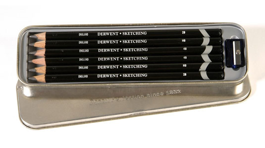 Small tin of six Derwent Graphic Medium pencils