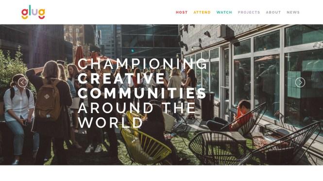Glug events website screenshot shows people networking outside a venue