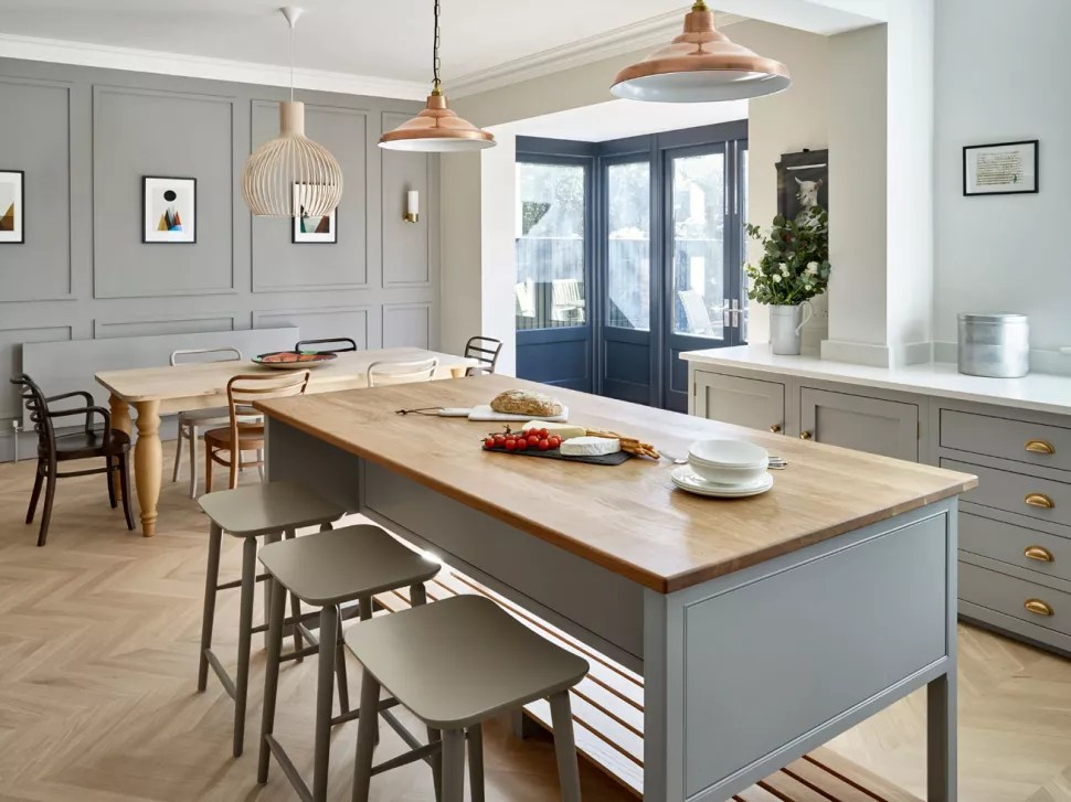 open plan shaker style kitchen