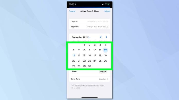 IOS 15 screenshot showing the Photos app and how to edit date and time metadata through the calendar.  Behind the screenshot is a blue background