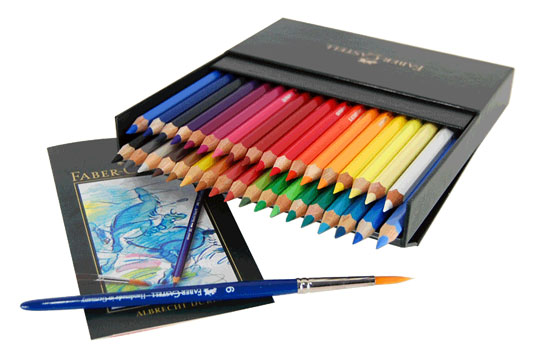 Box of Albrecht Dürer watercolor pencils, with watercolour brushes and an artwork
