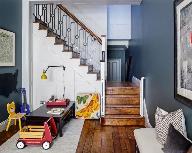 grey kids room with play area