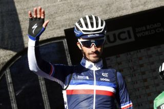 Julian Alaphilippe representing France at the 2018 World Championships in Innsbruck, Austria