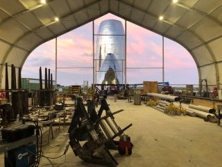 SpaceX CEO and founder Elon Musk posted this photo of the company's next Starship prototype — presumably the Starship Mk1, which is being built in Texas —on Twitter on Sept. 17, 2019.