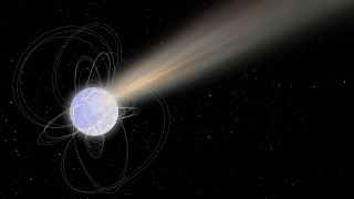 Artist's impression of a magnetar launching a burst of X-ray and radio waves across the galaxy