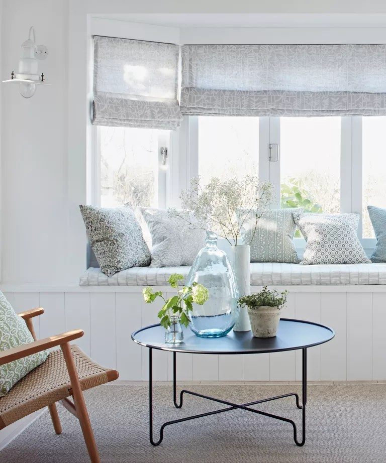 White living room with window seat