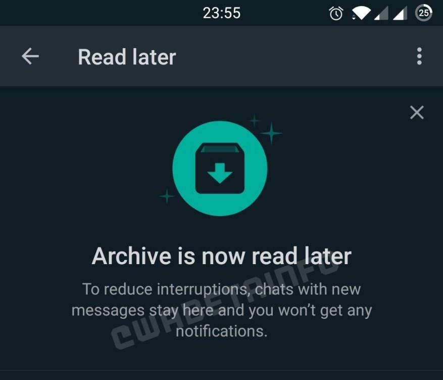 Бета-версия WhatsApp Read Later