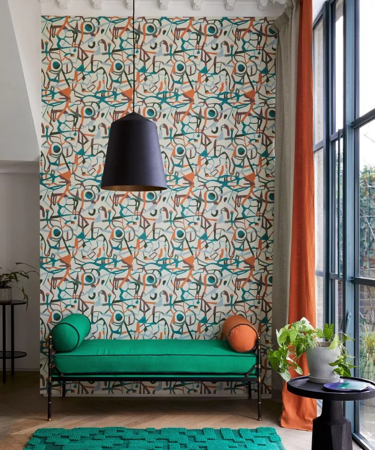 Living room wall ideas with abstract wallpaper