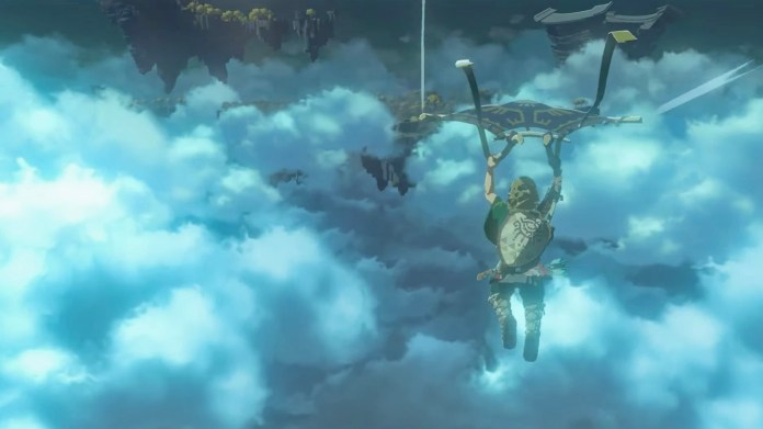 Breath of the Wild 2 trailer screenshot showing Link paragliding