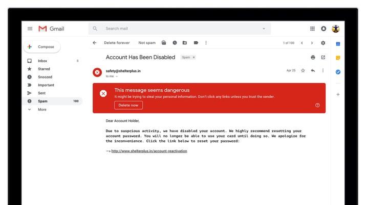 Phishing warning in Gmail