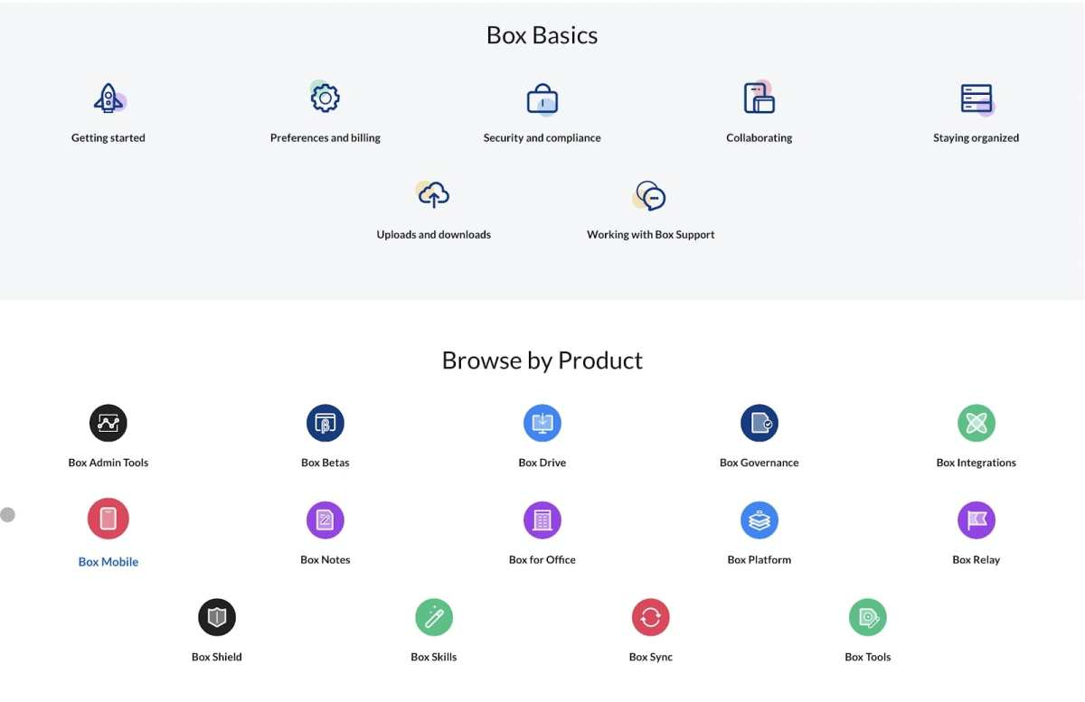 Box's web support site made up of icons