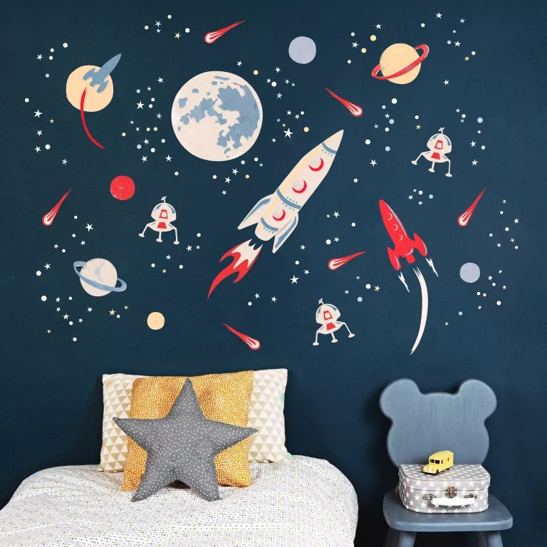 blue scheme kids bedroom with space themed wall from koko kids