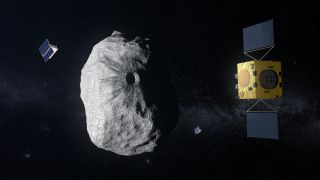 An artist's depiction of Europe's Hera mission at the binary asteroid Didymos.
