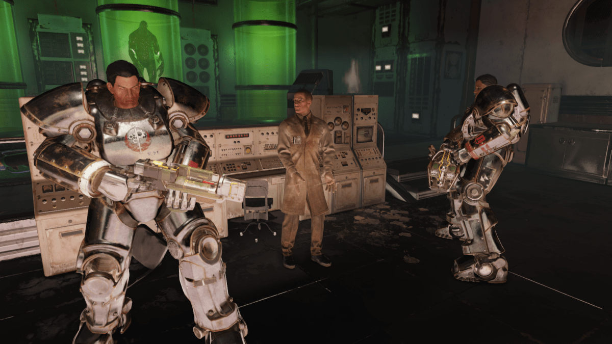 Fallout 76 Steel Reign review — a scene showing Shin, Rahmani and Doctor Blackburn