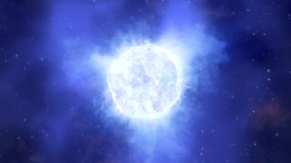 An artist's depiction of what the bright blue variable star in the galaxy Kinman Dwarf might have looked like before its sudden disappearance.