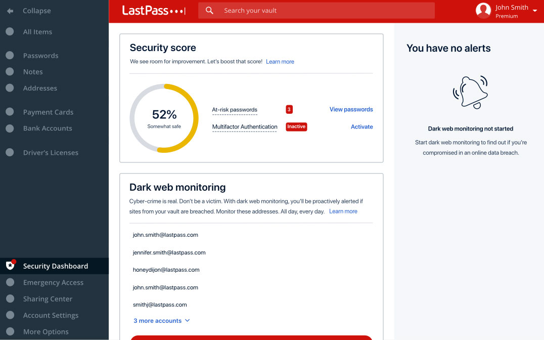 The LastPass security dashboard.