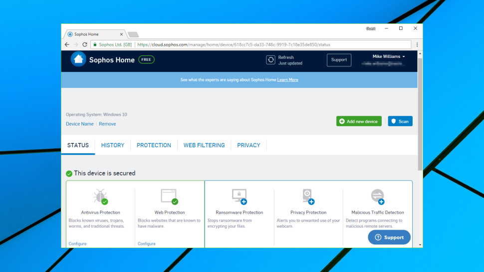 Sophos Home Free web console