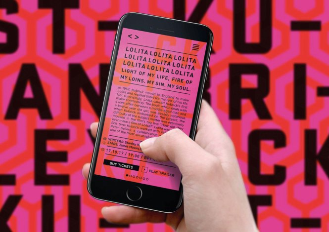 Phone screen displaying text for the Stanley Kubrick retrospective
