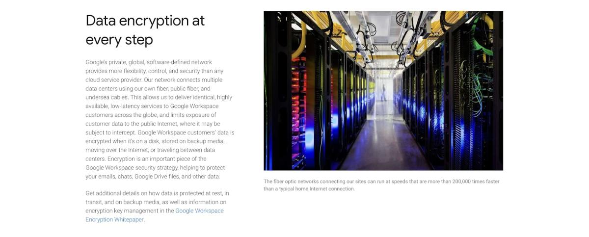 a webpage discussing Google's data encryption policies