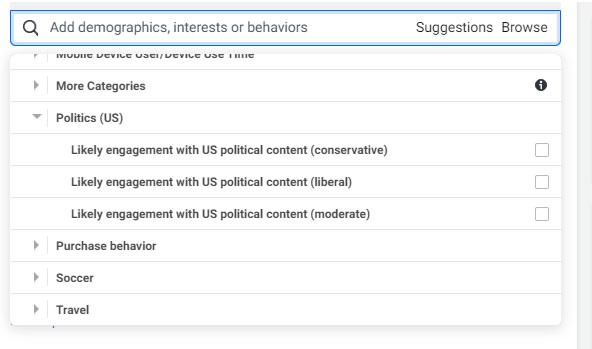 A screen grab of the part of the Facebook Ad Manager tool that targets audience by political affiliation.