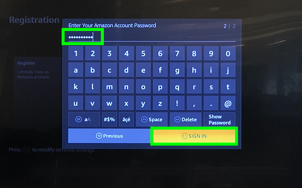 how to use fire stick - enter amazon password