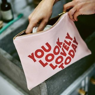 You look lovely today makeup bag in pink and red