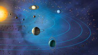 Artwork showing the planets orbiting the sun (from inner to outer): Mercury, Venus, Earth, Mars, Jupiter, Saturn, Uranus and Neptune.