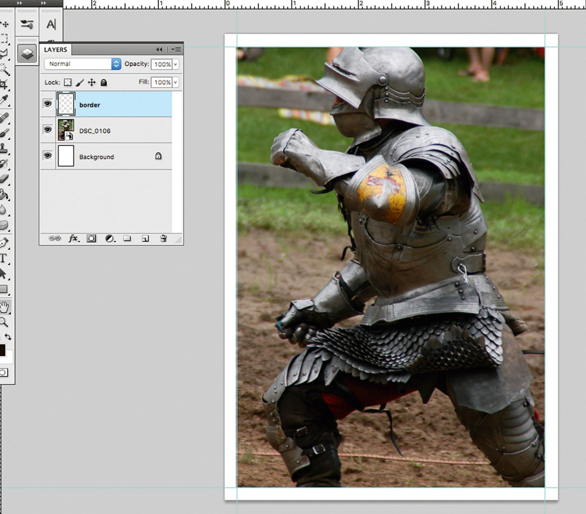 Screenshot of the knight photo in Photoshop